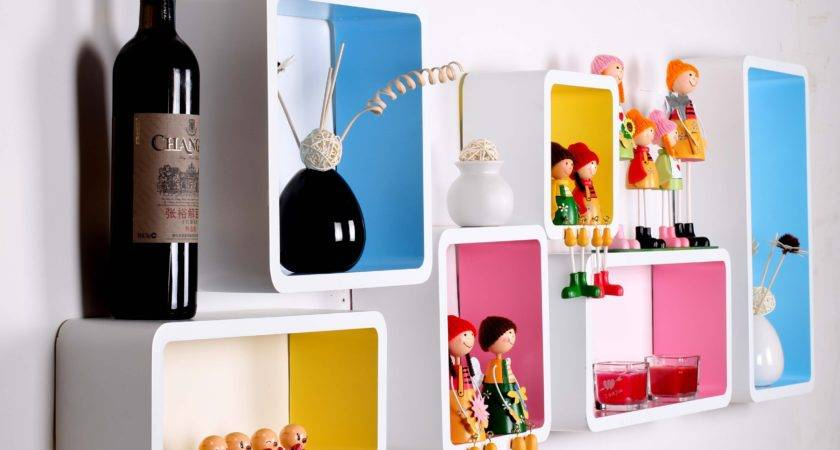 Funky Decorative Wall Shelves Different Color Ideas