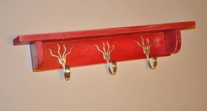 Funky Forks Coat Rack Shelf Distressed Red