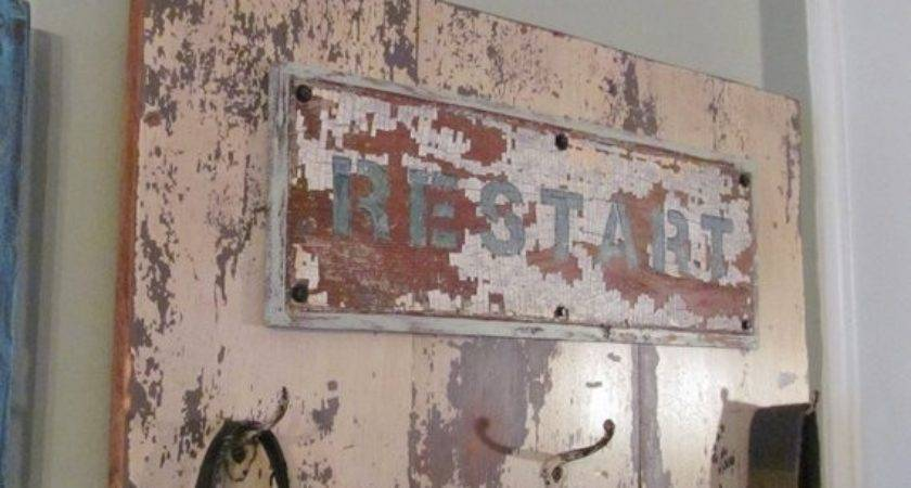 Funky Sign Coat Rack Restart Repurposed Wood Painted