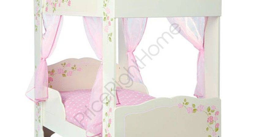 Girls Rose Poster Toddler Bed Pink Voile Curtains