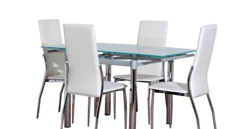 Glass Dining Table Furniture Cream Chairs Set Ebay
