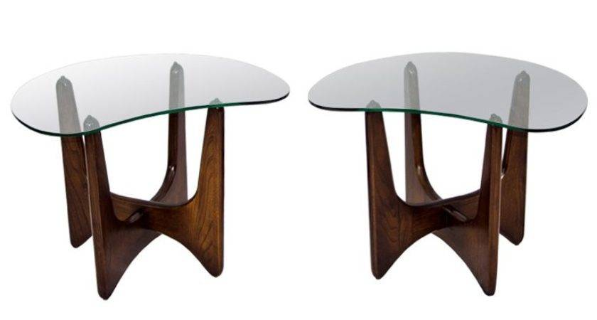 Glass Top End Tables Pair Wood Base Stdibs
