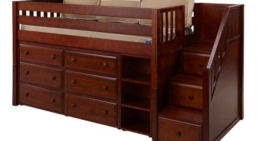 Great Low Loft Bed Stairs Drawers Book Case