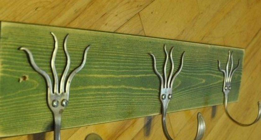 Green Stained Funky Forks Coat Rack Yeah Recycled