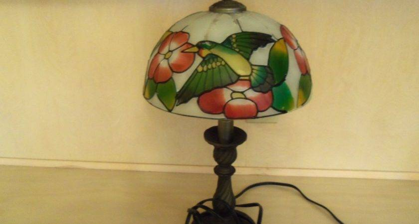 Heavy Brass Table Lamp Stained Glass Shade Tiffany