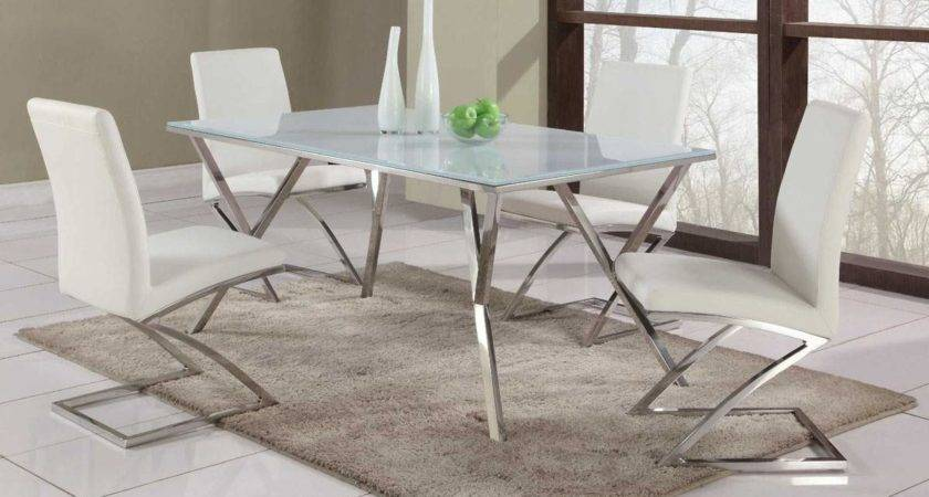 High End Rectangular Glass Top Leather Dining Table