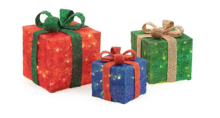 Home Accents Holiday Pre Lit Gift Boxes Yard Decor Set