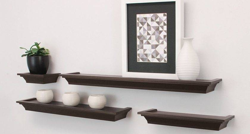 Home Decor Floating Wall Shelves Brown Ledge Shelving