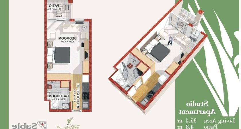 Home Design Sqm Efficiency Apartment Living Plan
