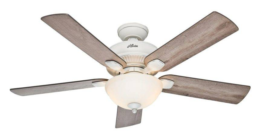 Hunter Cottage White Outdoor Ceiling Fan Grey