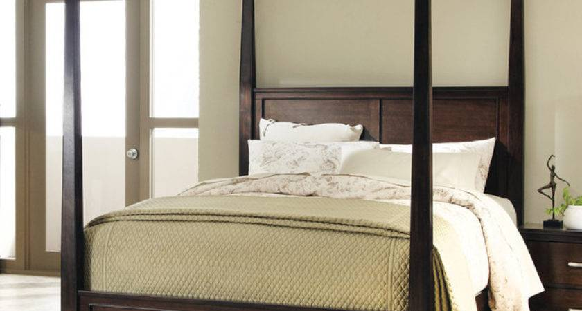 Ingram Queen Canopy Bed Antique Brown Finish