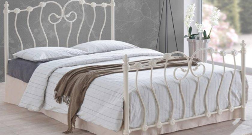 Inova Ivory Ornate Victorian Metal Bed Frame