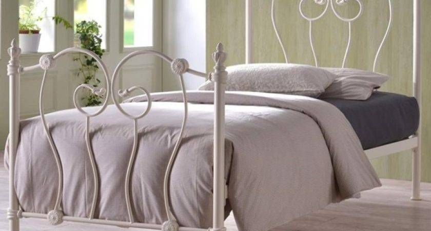Inova Ivory Ornate Victorian Single Metal Bed Frame