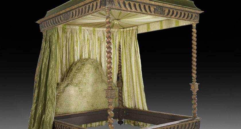 Italian Style Polychrome Canopy King Bed