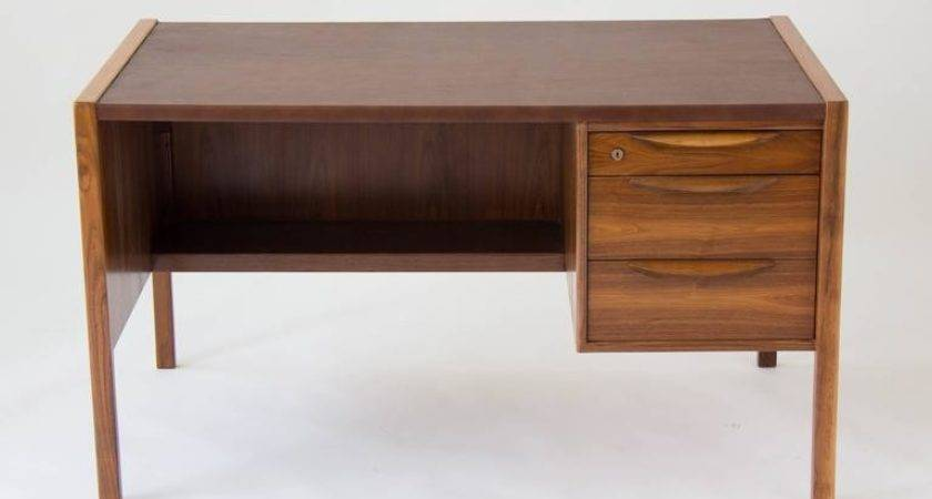 Jens Risom Walnut Desk Leather Writing Surface