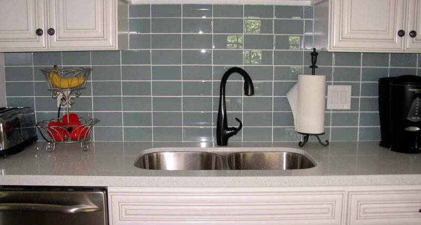Kitchen Black Faucet Gray Subway Tile Backsplash