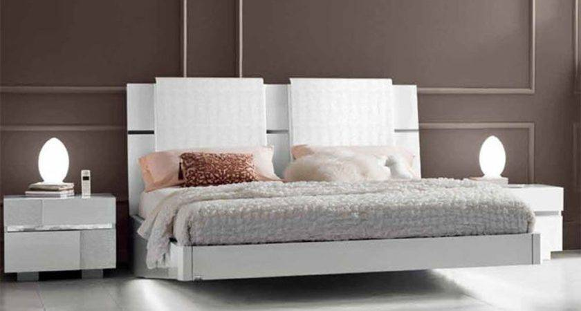 Lacquered Made Italy Wood Modern Platform Bed
