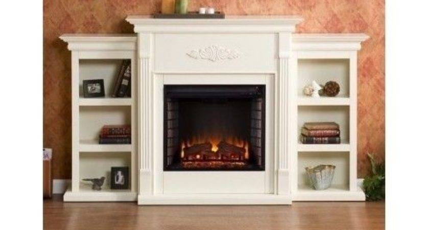 Large Electric Fireplace Mantel Heater Storage Shelves