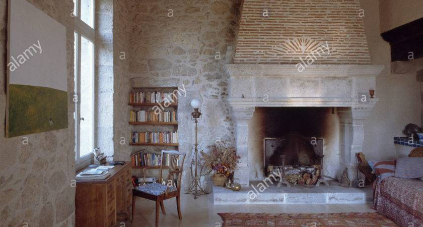 Large Stone Fireplace Country Living Room