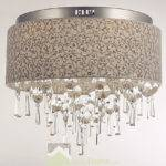 Living Room Fabric Lampshade Crystal Ceiling Lighting