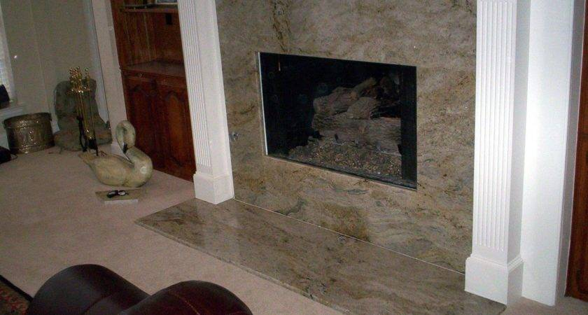 Living Room Gray Marble Fireplace Surround Light
