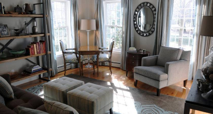 Living Room Home Office West Newbury Traditional
