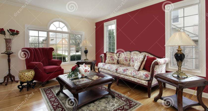 Living Room Red Cream Colored Walls