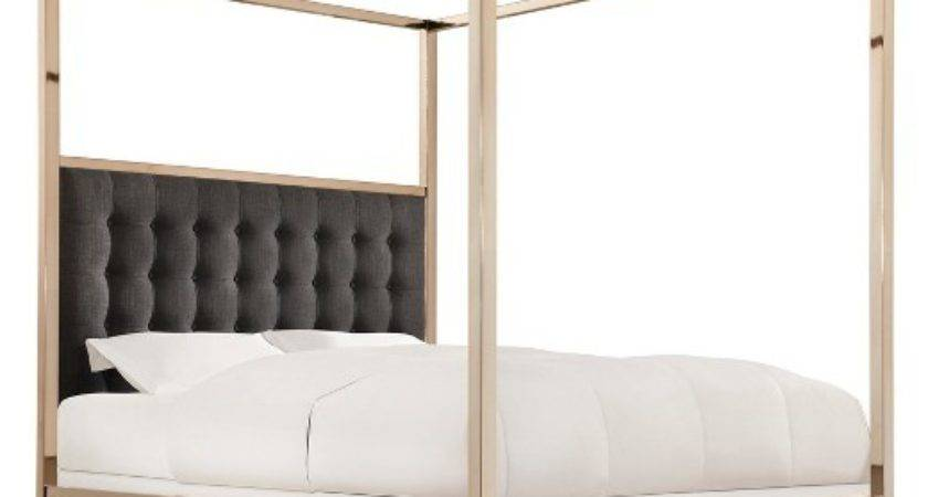 Manhattan Champagne Gold Canopy Bed King Charcoal