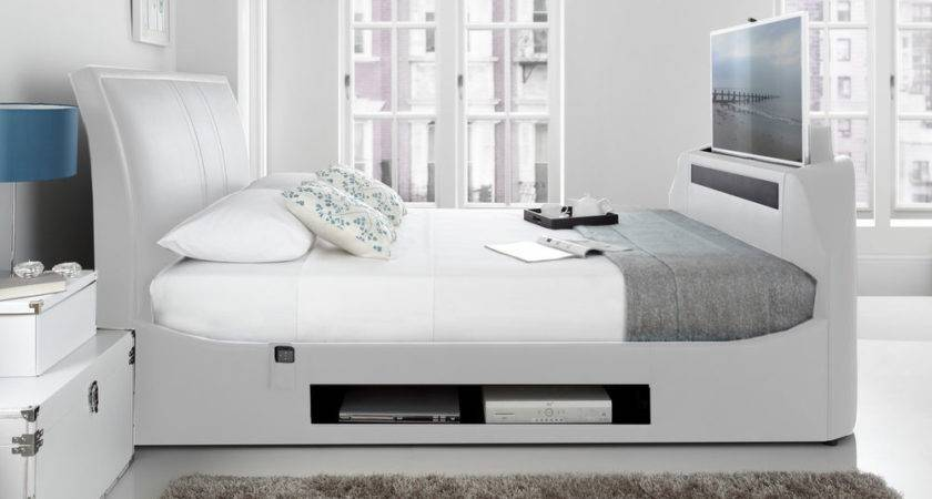 Maximus White Leather Multi Media King Bed Frame