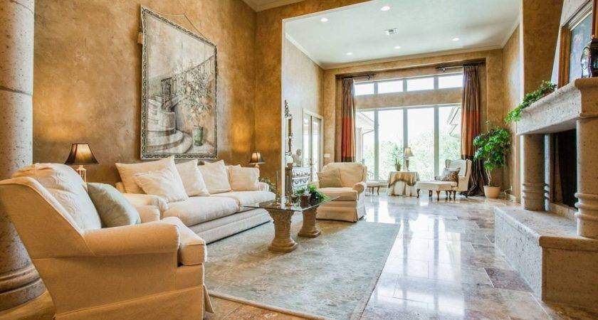 Mediterranean Living Room Travertine Tile Floors