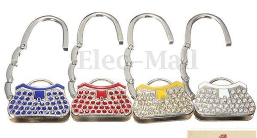 Metal Rhinestone Crystal Folding Handbag Purse Table Hook