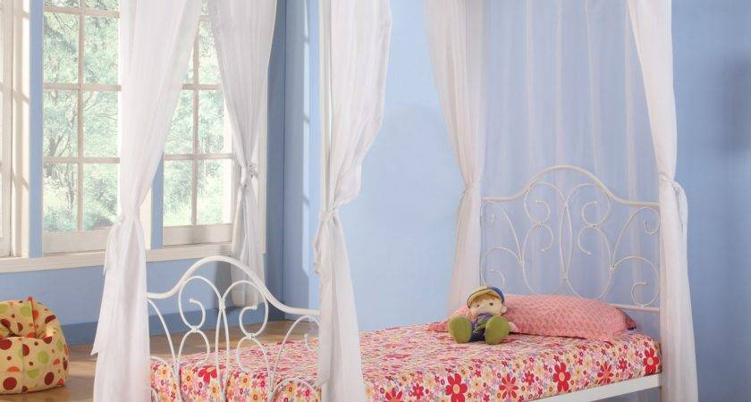 Metal Twin White Canopy Bed Curtains Hayneedle
