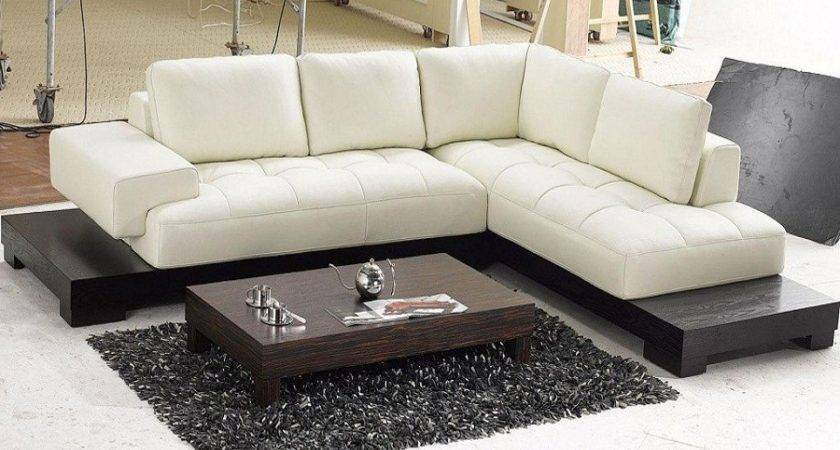 Modern Beige Leather Sectional Sofas Mid Century
