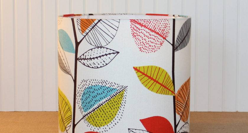 Modern Drum Lamp Shade Lampshade Colorful Retro Leaves Made