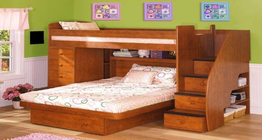 Multifunction Brown Wooden Furniture Two Bed