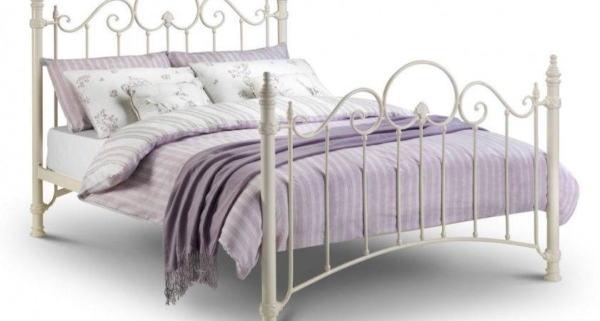 Naples Stone White Ornate Metal Bed Frame Sensation