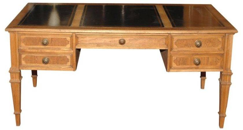 Neoclassical Style Desk Leather Writing Surface