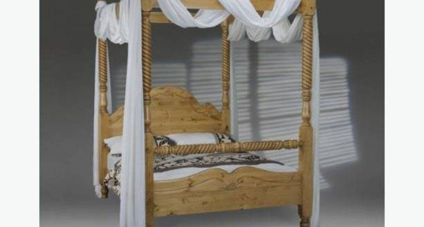 New Four Poster Frame Bed Pine Double British Made Natural