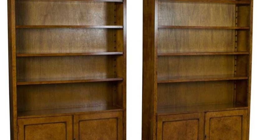New Matching Pair Walnut Tall Bookcases Doors