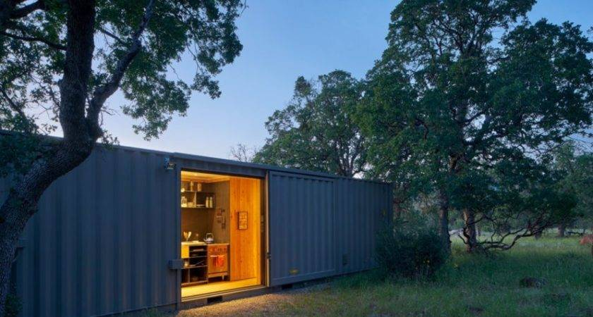 Off Grid Shipping Container Cabin Has Warm Wooden