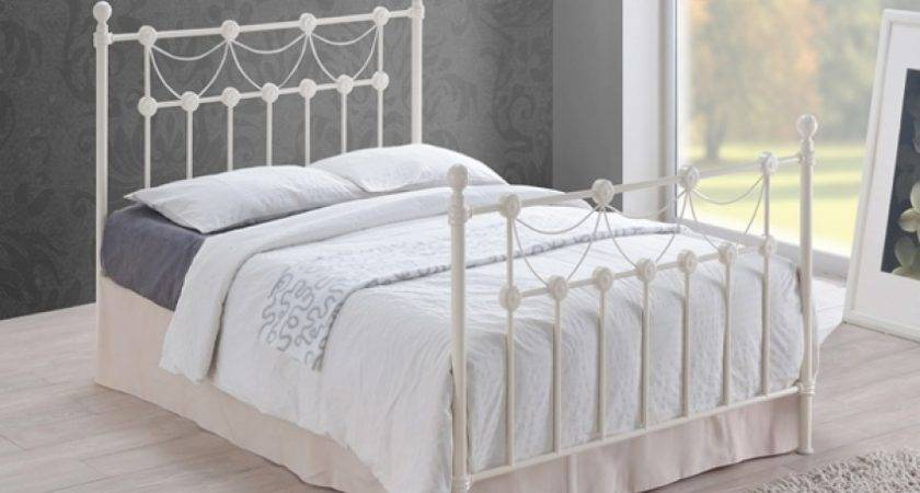 Omero Ivory Ornate Metal Bed Frame