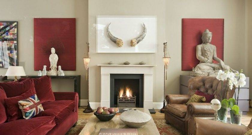 Oriental Small Living Room Ideas Fireplace Home Round