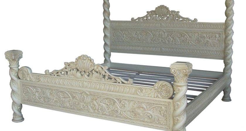 Ornate Four Poster Bed Black Silver