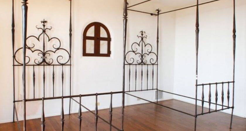 Pair Wrought Iron Single Canopy Beds Lot