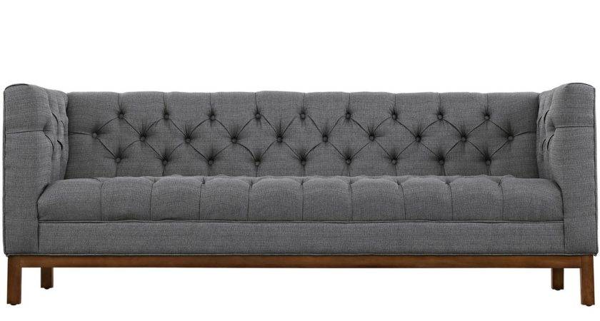 Panache Vintage Square Button Tufted Upholstered Sofa Gray