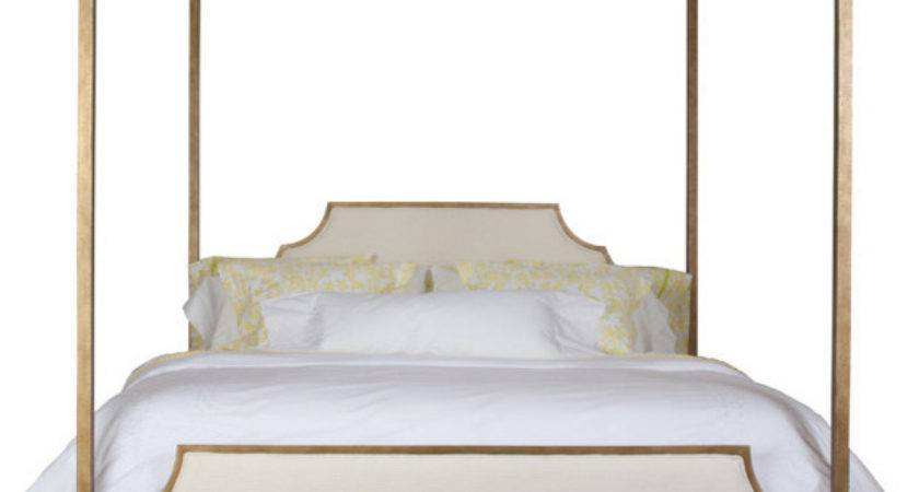 Paramount King Metal Canopy Bed Gold Modern