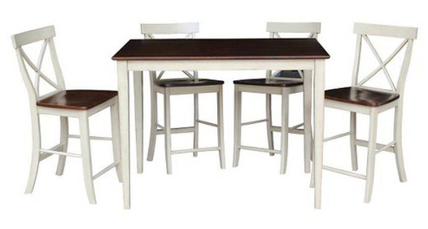 Piece Dining Set Gathering Height Table Wood
