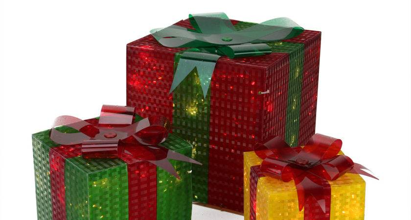 Piece Glistening Prismatic Gift Box Lighted Christmas
