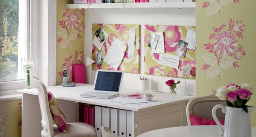 Pink Green White Feminine Home Office Dining Room