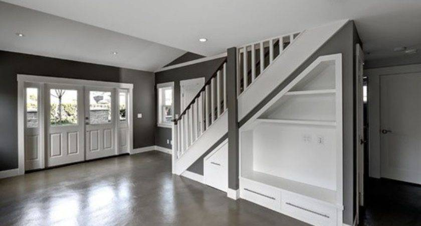 Polished Cement Floors Built Ins Under Stairs